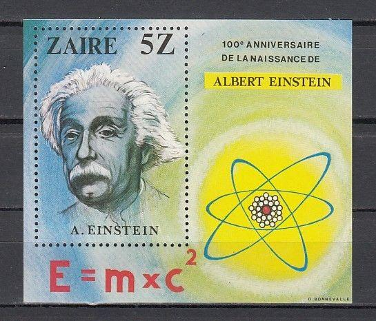 Zaire, Scott cat. 959. Albert Einstein s/sheet. Atom in design.
