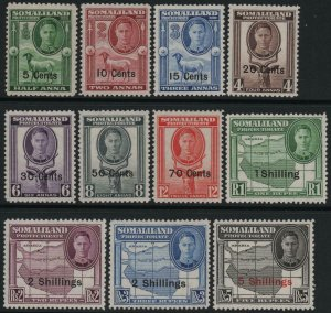 SOMALILAND-1951 Set to 5/- on 5r Sg 125-135 LIGHTLY MOUNTED MINT V39037