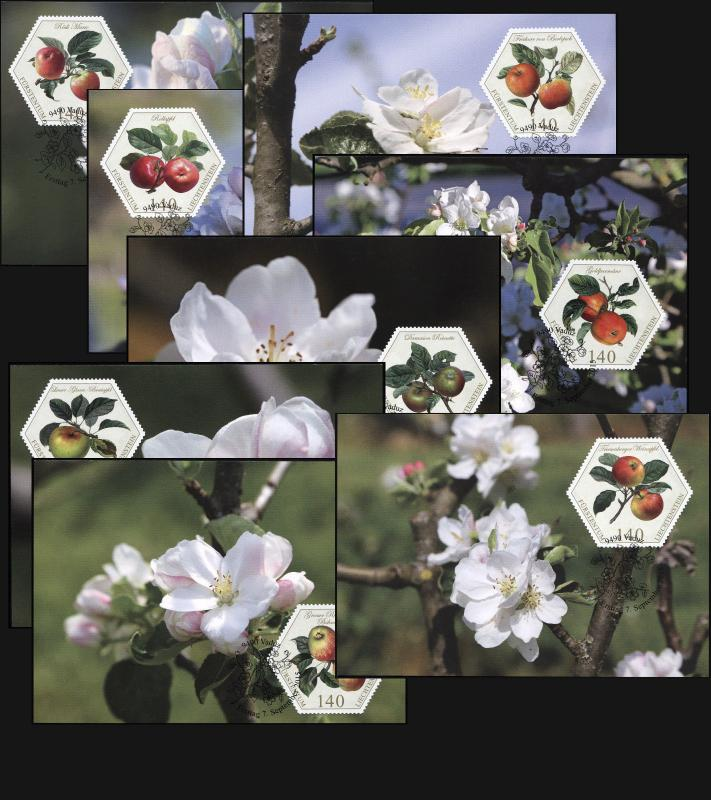 Liechtenstein. 2015. Old Fruit Varieties - Appels (Maxi Cards Set, M)
