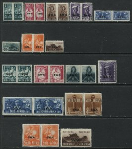 South West Africa 1941-45 overprinted sets large and small mint o.g. hinged