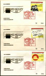 MEXICO 1545-1547, FDC Mepsirrey88 MEPSI Official cachetted set of 3. F-VF.