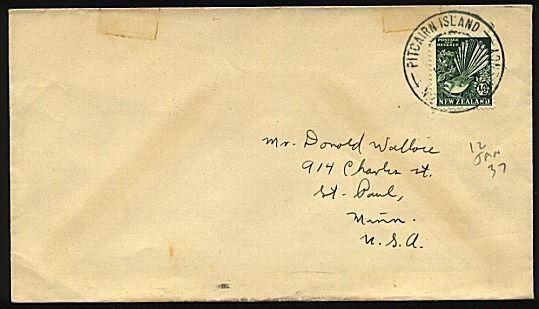 PITCAIRN 1937 cover NZ ½d Fantail with NZ Agency cds - ....................19517