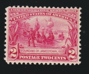 US 329 2c Jamestown Mint VF OG NH SCV $80