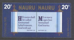 Nauru Scott 237a - SG248/249, 1981 Christmas 20c Pair MNH**