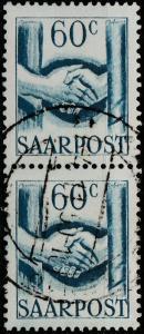 SARRE / SAARLAND - 1948 - vertical pair 2xMi.240 60c handshake - Very Fine Used