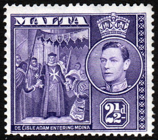 Malta KGVI 1938 2.5d Dull Violet SG222a Mint Hinged