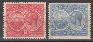 BERMUDA 1920 KGV 300TH ANNIVERSARY 1D AND 21/2D USED