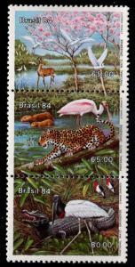 Brazil Scott 1922  MNH** 1984 Matto Grosso Fauna stamp strip CV $2