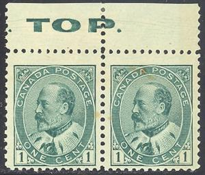Canada #89iv hairlines and TOP imprint  Mint  F-VF NH - RRR