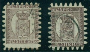FINLAND #12,a (5vlC2&3) 5pen Laid paper roulette II & III, used, Scott $460.00