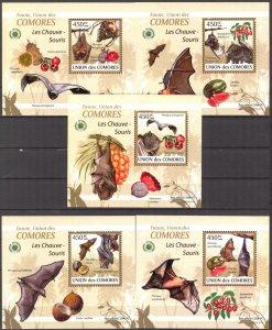 {104} Comoros 2009 Bats 5 S/S Deluxe MNH**