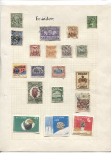 STAMP STATION PERTH Ecuador #Around 80 Stamps on Paper Mostly Used Unchecked