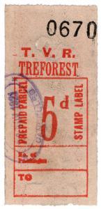 (I.B) Taff Vale Railway : Prepaid Parcel 5d (Treforest)