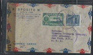 VENEZUELA  COVER (P2709B)   20C+45C CENSOR A/M COVER TO USA