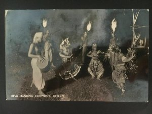 1939 Colombo Ceylon RPPC postcard Cover to Holland Censored Devil Dancing