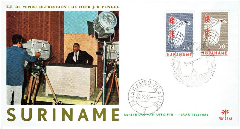 SURINAME FIRST DAY COVER  #339-340, PRESIDENT J A PENGEL, 10/20/1966