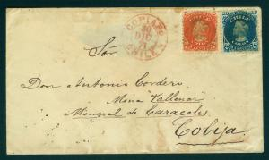CHILE 1867 COLUMBUS combination cover 5c red +10c Sc#17-18 from COPIAPO to Cobya