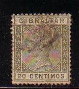 Gibraltar Sc 31 1895 20 c olive green Victoria stamp used
