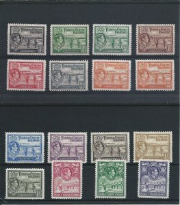 TURKS & CAICOS IS 1938-45 SET OF FOURTEEN WITH SOME SHADES MM SG 194/205