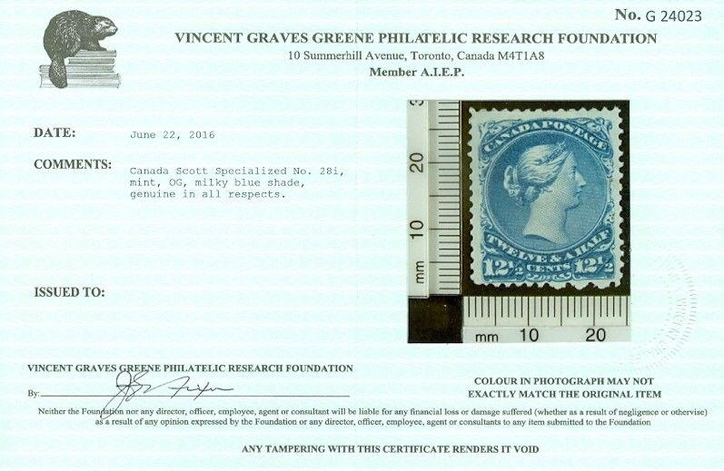 EDW1949SELL : CANADA 1868 Sc #28 Milky Blue Mint. Very Fresh Vincent Graves Cert