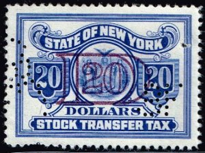US STAMP REVENUE STATE OF NEW YORK STOCK TRANSFER  TAX PAID STAMP BLUE $20