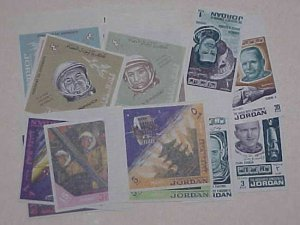 JORDAN SPACE IMPERF 17 DIFF. STAMPS  MINT NH  cat.$66.00