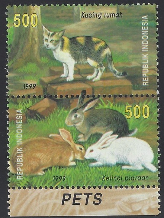 Indonesia MNH 1874a Cats & Rabbits 1999
