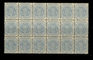SOUTH AFRICA - Transvaal QV SG203 6d pale dull blue NH MINT. Cat £81 BLOCK OF 18