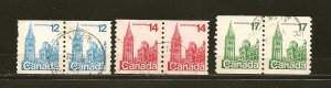 Canada 729-730 & 806 Lot of 3 Parliament Coil Pairs Used