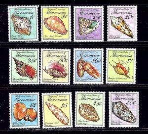 Micronesia 83-102 (12 values) MNH 1989 Seashells    (ap2254)