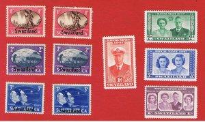 Swaziland #38-47  MVFLH OG  Peace & Royal Visit   Free S/H