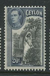 Ceylon -Scott 283 - KGVI Definitive Issue - 1938 - MNH - Single 20c Stamp