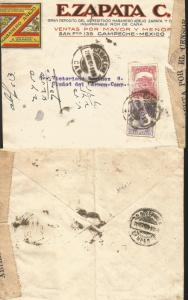 J) 1924 MEXICO, INSURRECTION ISSUE: COLORFUL HEADED FRANKED WITH 1924 5 CENTS VI