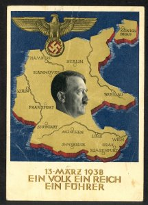 GERMANY 1938 6rm UNION W AUSTRIA Hitler Map Propaganda Card Mi.P268 FUSSEN to US