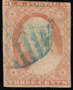 US STAMP #11A – 1853-55 3¢ George Washington, dull red, type II, imperf USED