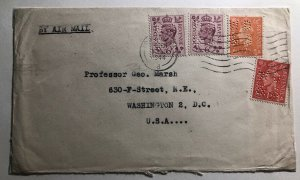 1944 London England Commercial Cover To Washington DC Usa Perfin Stamp