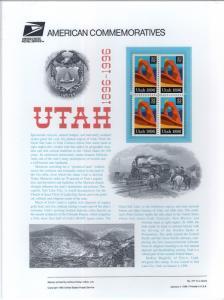 US CP480 Utah Statehood 3024 Commemorative Panel Mint