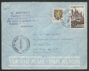 FRANCE 1953 Airmail cover to USA - nice franking...........................58070