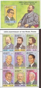 Nevis - 1995 Nobel Prize Recipients - 9 Stamp Sheet + Souvenir Sheet #931-2