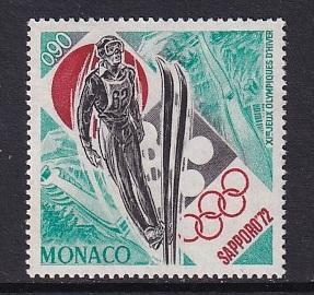 Monaco  #828   MNH  1972  winter Olympic games Sapporo  ski jump