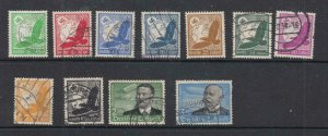 GERMANY # C46-C56 VF-LIGHT USED AIRPOST STAMPS ZEPPELIN ETC CAT VALUE $80+