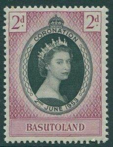 Basutoland 1953 SG42 2d black and purple Coronation QEII MNH