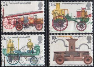 Great Britain 716-19 - Used - Early Fire Trucks (1974) (cv $1.15)