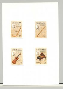Grenada #1312-1316 Bach, Composer, Music 4v & 1v S/S Imperf Proofs on 2v Cards