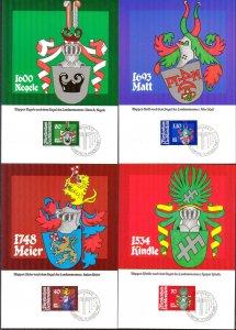 Liechtenstein 1981 Arms Coats 4 Maxi Cards FDC