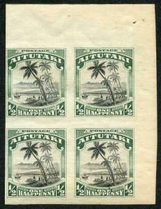 Cook Is 1920 Aitutaki 1/2d Imperf Pair on Gummed Paper (probably a Proof) M/M