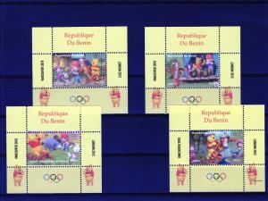 Benin 2009 Olympic Games - Disney's Winnie the Pooh 8 Souvenir Sheets MNH