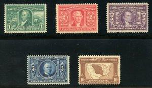 UNITED STATES  SCOTT#323/27 LOUISIANA PURCHASE MINT NEVER HINGED--SCOTT $770.00