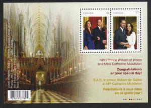 Canada #2465b mint souvenir sheet Royal Wedding, issued 2011
