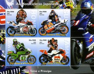 Sao Tome & Principe 2005 JAPANESE MORTORCYCLES Sheet Perforated Mint (NH)